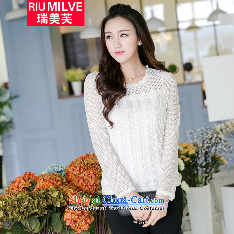 Rui Mei to fall 2015 new products long-sleeved blouses and XL engraving lace splicing pin-ju Sau San T-shirts, forming the Netherlands V5020燲XXL White