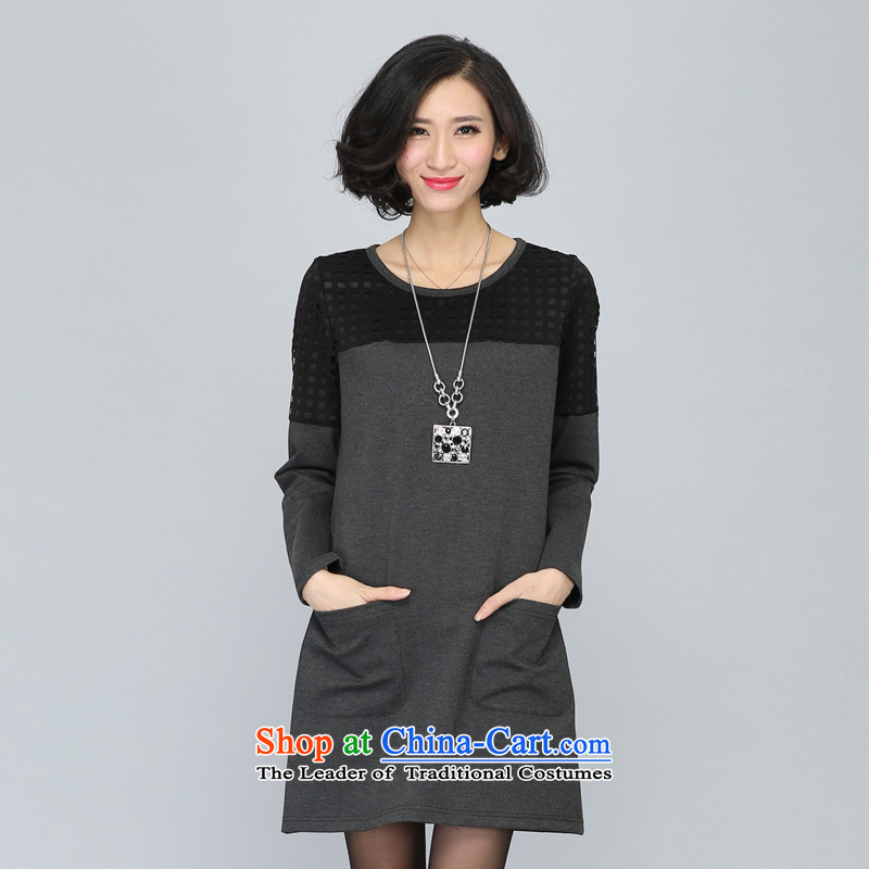 The population of the Cayman extra-thick mm autumn women 2015 new expertise with sister Korean loose video thin straight temperament dresses gray?XL
