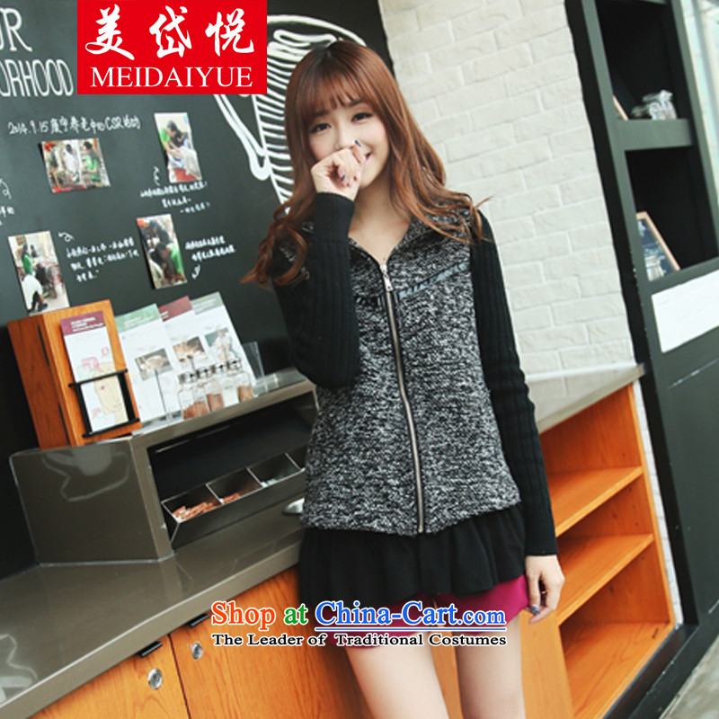 American Social Yue�  to 2015 XL female jackets thick mm thin leave Korea version two gross? Cardigan Jacket�L _170-200 carbon catty
