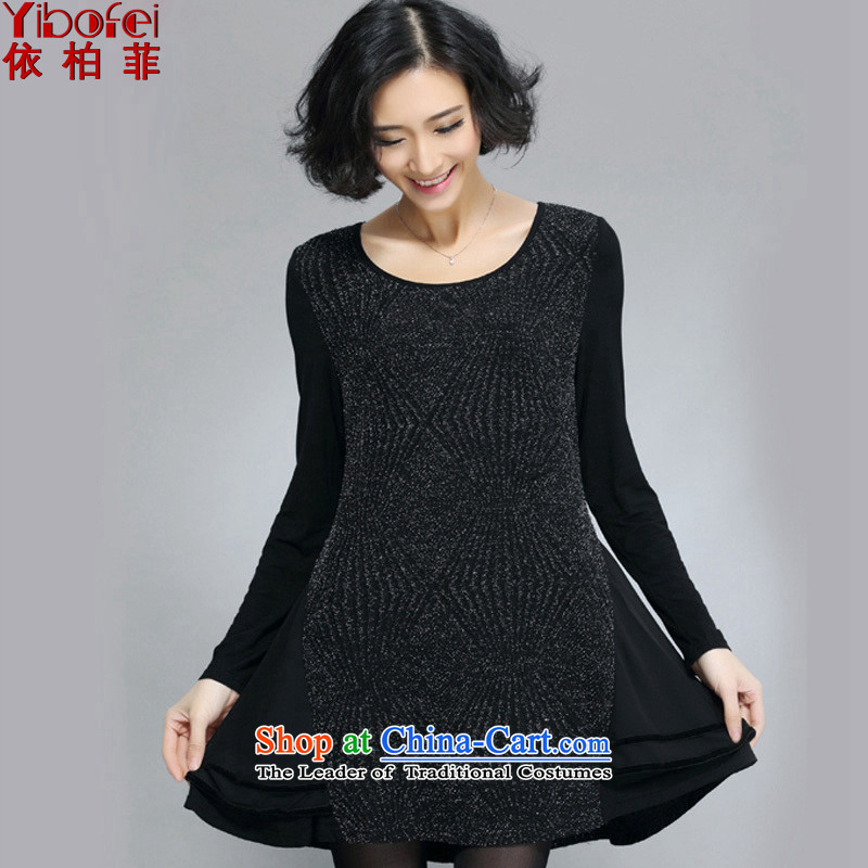 In accordance with the perfect?2015 Spring sister thick new larger female black flashing Boobie temperament video thin dresses Y5011 female black?L