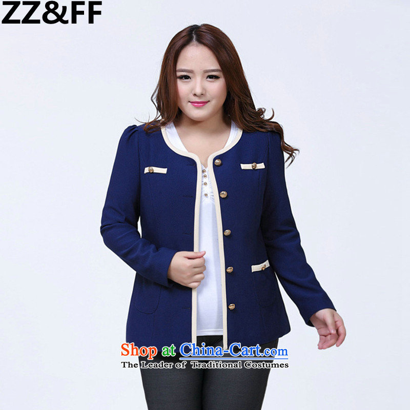 Install the latest Autumn 2015 Zz_ff small business suit to xl female suit Ms. leisure video thin beauty girl聽XXXXL dark blue jacket