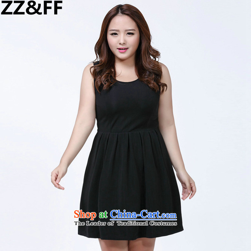 The new 2015 Zz&ff to increase women's presence among the code 200 catties thick mm loose sleeveless strap black?XXXXL dresses