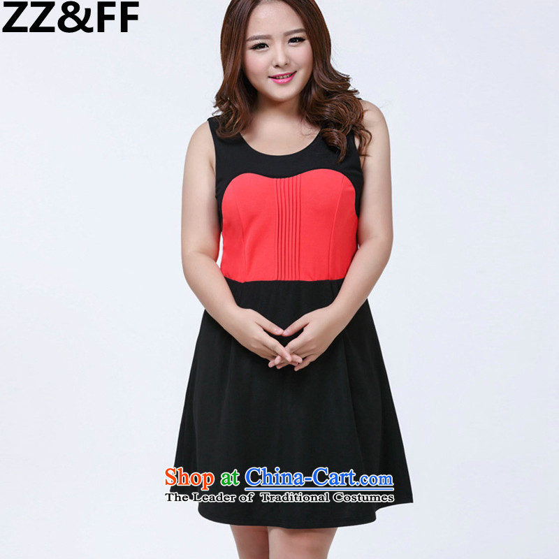 2015 Summer Zz&ff new 200 catties thick mm to increase women's spell color code dresses three-dimensional construction thin princess skirt picture color?XXXXL