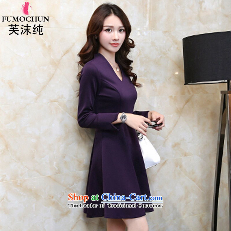 To droplets of pure 2015 autumn and winter Korean Sau San video thin OL career long-sleeved dresses girl from 8396 purple� XXL