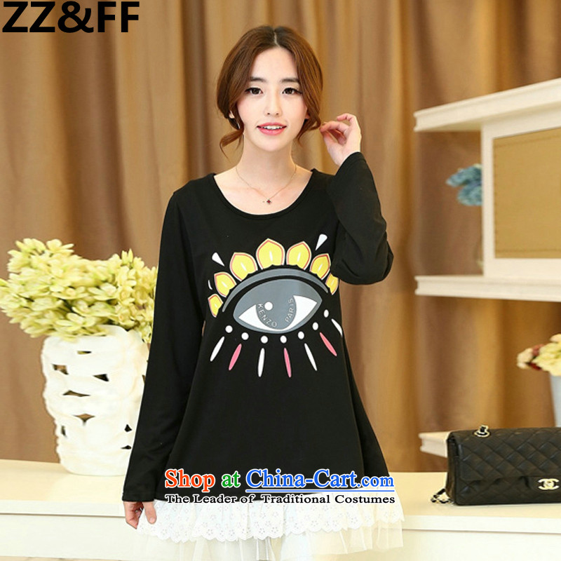 ?To increase the number Zz&ff Women?2015 Autumn new stamp forming the shirt, long-sleeved T-shirt thick MM thin black shirt loose video (eye) XXXL