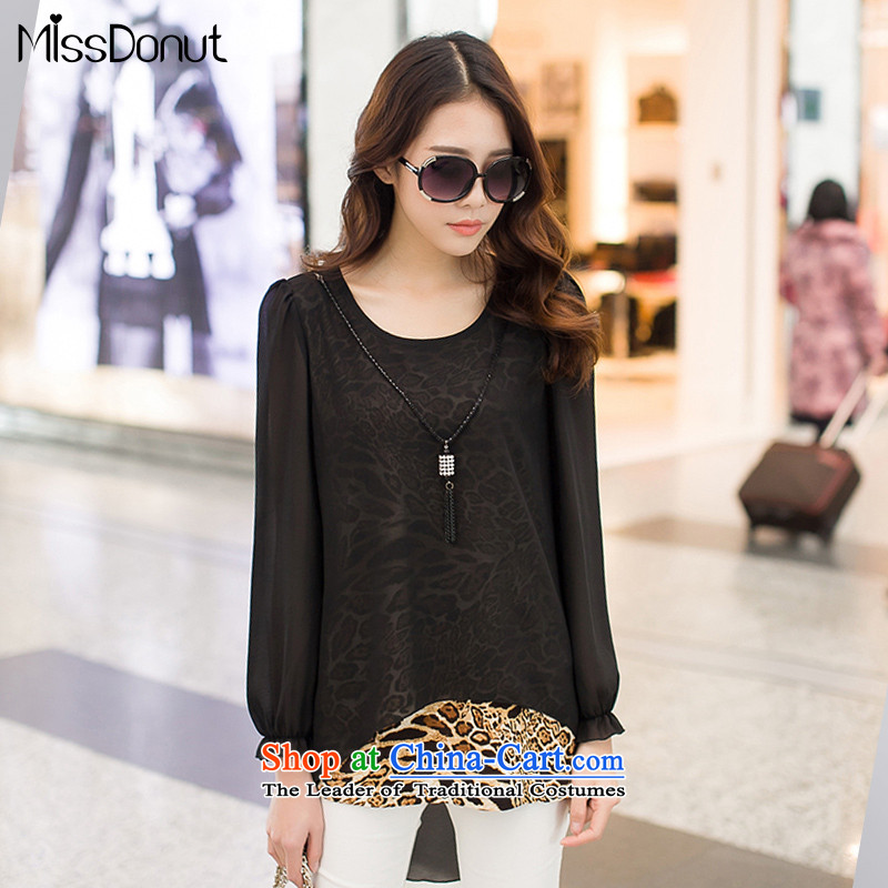 Spring missdonut2015 new larger female Korean fake two Leopard stitching female in the sweet long chiffon shirt black large XXL