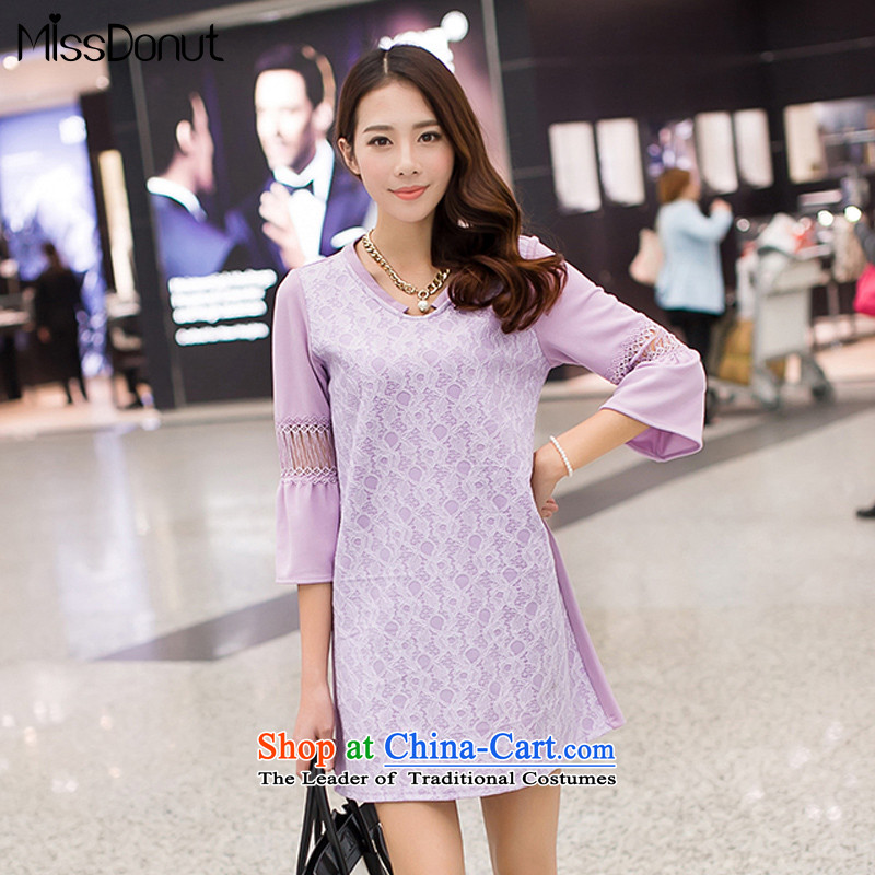 Spring missdonut2015 new larger female Korean version 7 to the liberal video thin cuff women's dresses, forming the sweet light violet large XL