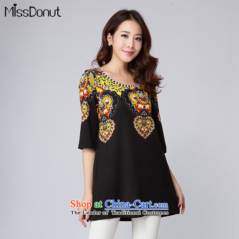 The spring of the new big missdonut2015 code Women Korean loose to intensify the stylish stamp neck long chiffon shirt black large 3XL code