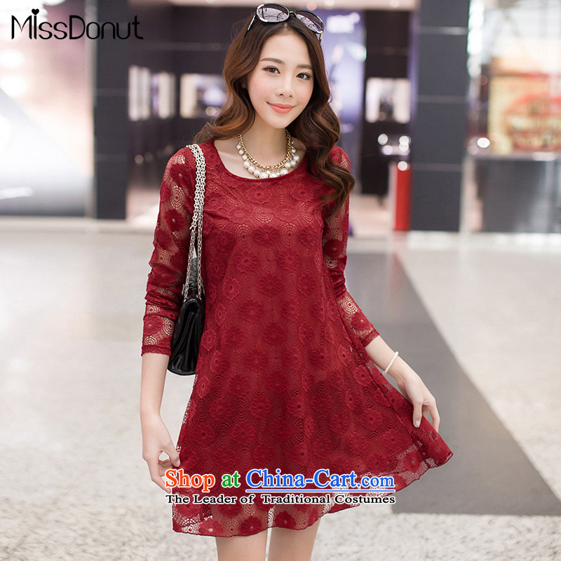 Missdonut xl female lace dresses long-sleeved Korean version of video thin, thick thick solid mm skirts sister wine red large L