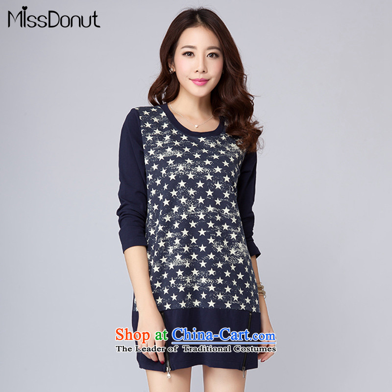 New Spring missdonut2015 thick mm Korean stars stamp long-sleeved skirt the girl to xl short skirts of liberal large blue code L