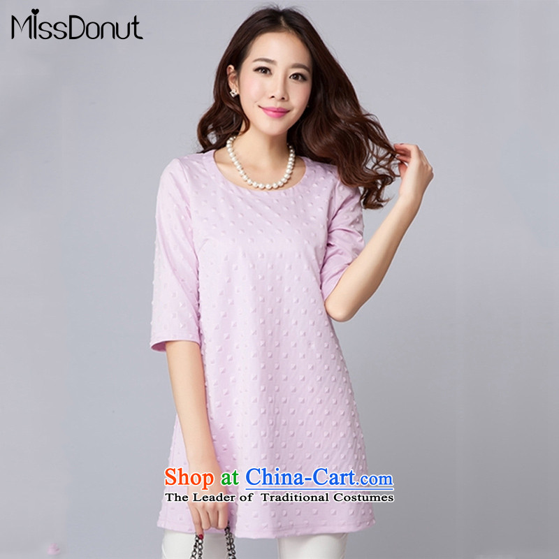 Missdonut2015 summer new Korean Version to increase women's liberal, forming the basis for the fifth in the Cuff dresses 3XL large light purple
