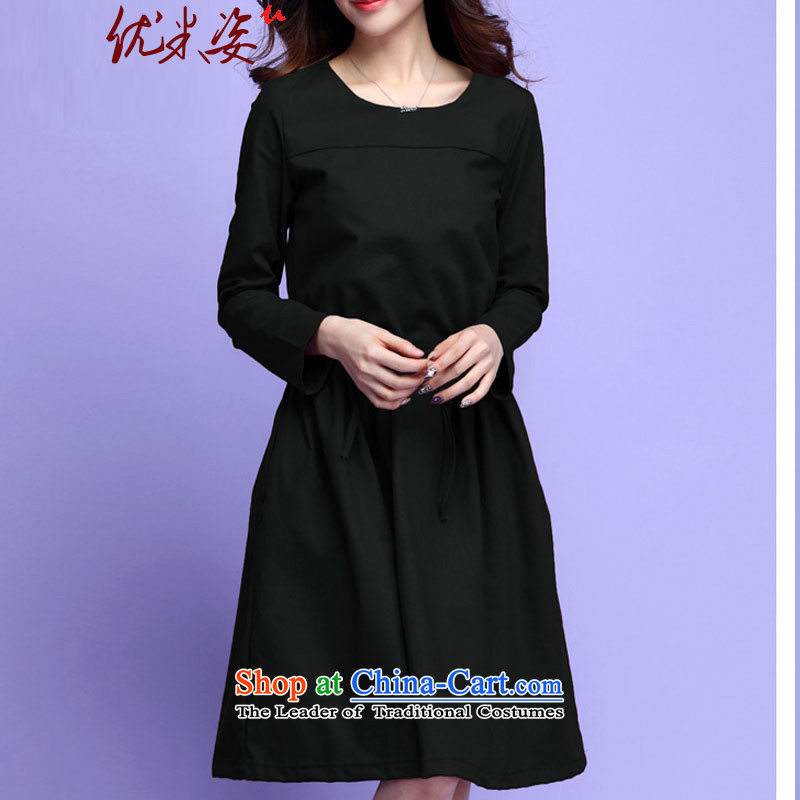 Gigi Lai to optimize M XL casual dress solid color simple round-neck collar long-sleeved loose, linen/cotton graphics thin short skirts spring new OL can C.O.D. black?4XL