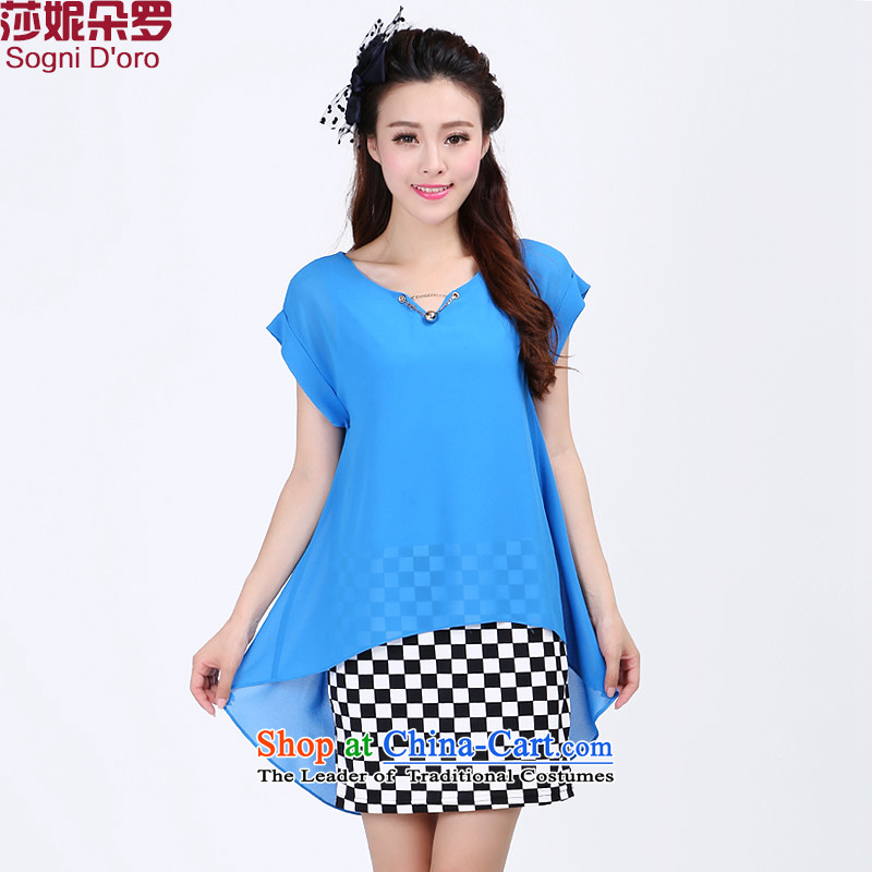 The latte macchiato, Shani to increase women's code thick sister summer thick, thin, Hin chiffon dresses 7,712 Light Blue燤-video thin leave Two Part