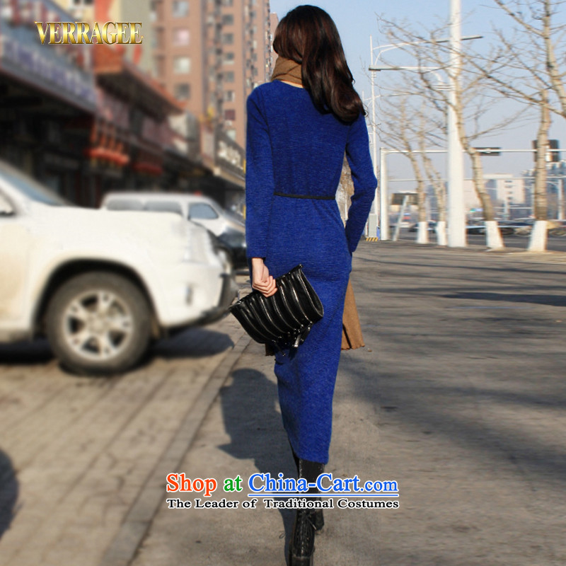 Wei Ya Ji /verragee autumn western style with Fan Bing Bing knitting loose long-sleeved dresses Sau San long skirt larger female d02 . blue XXL