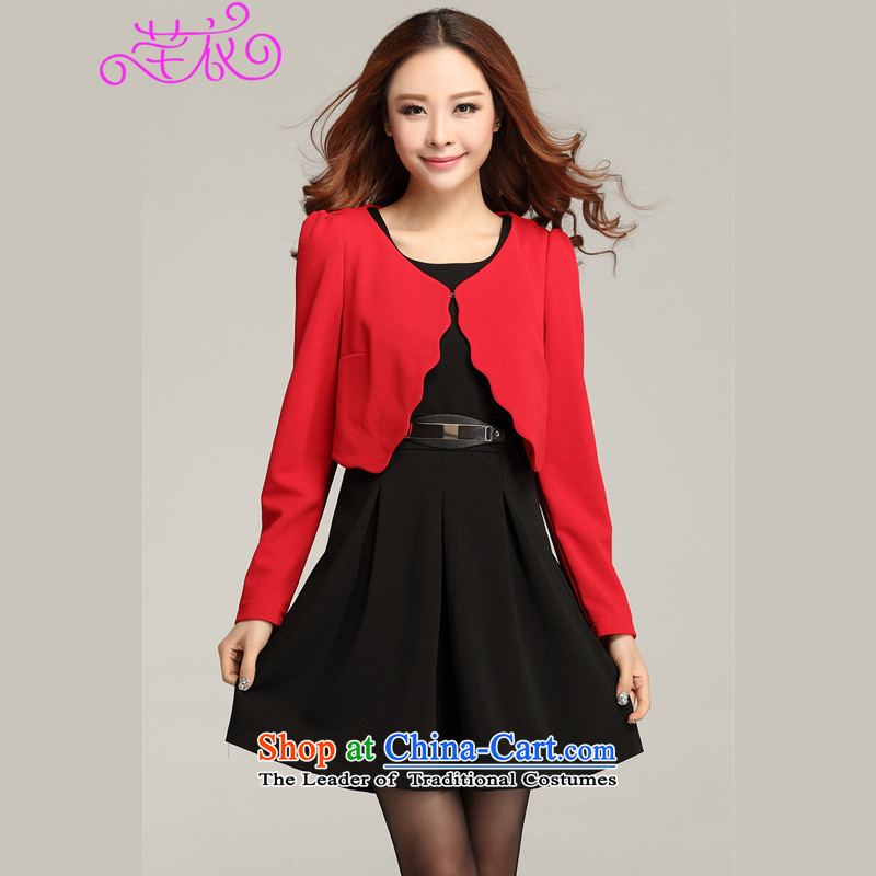 To increase the number of women's centers thick mm autumn new 2015 color plane wave board really two ladies OL dresses black skirt?3XL 155-170 catty