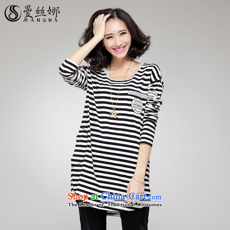 The population of the Cayman to increase women's code thick mm autumn 2015 Korean version of replacing long Sau San Video Striped Tee black and white thin stripes�L_145-165 may pass through_