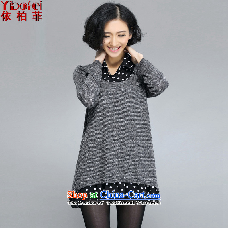 In accordance with the perfect爏pring 2015 the new fat mm to xl women wave point shirt lapel leave two pieces of knitted dresses Y5013 gray�L female