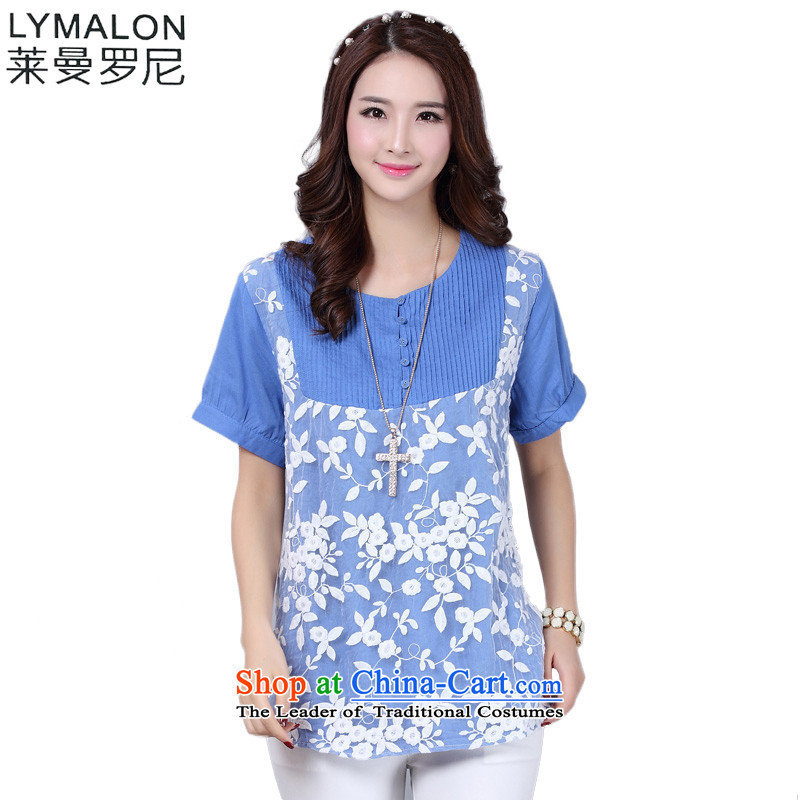 The lymalon lehmann thick, Hin thin 2015 spring_summer load new Korean version of fat mm larger female loose short-sleeved T-shirt 1606 Blue燲L