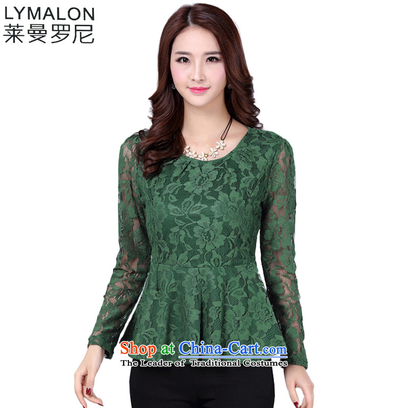 The lymalon lehmann thick, Hin thin 2015 Autumn replacing the new Korean version of large numbers of ladies' long-sleeved shirt loose lace mm1608 thick green燲XXXL