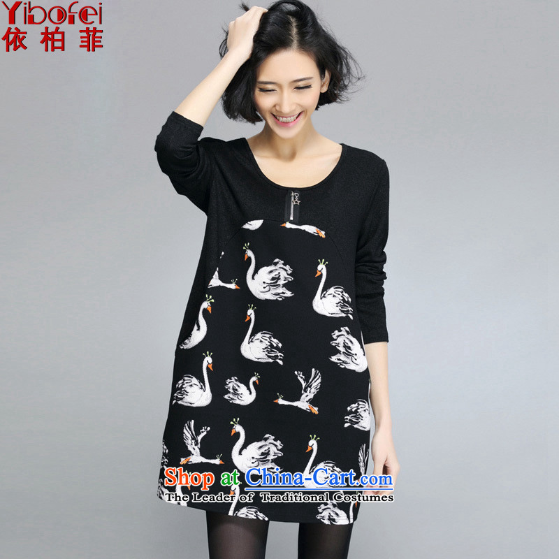 In accordance with the perfect�15 Spring sister thick new larger female Korean Version Stamp loose long-sleeved dresses Y5015 female black燲XL