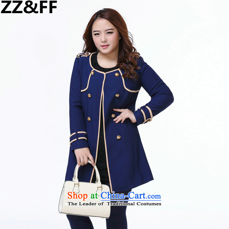 Install the latest Autumn 2015 Zz_ff_ to increase women's burden of code 200 mm thick round-neck collar cardigan in long thick wind jacket dark blue XXXXL