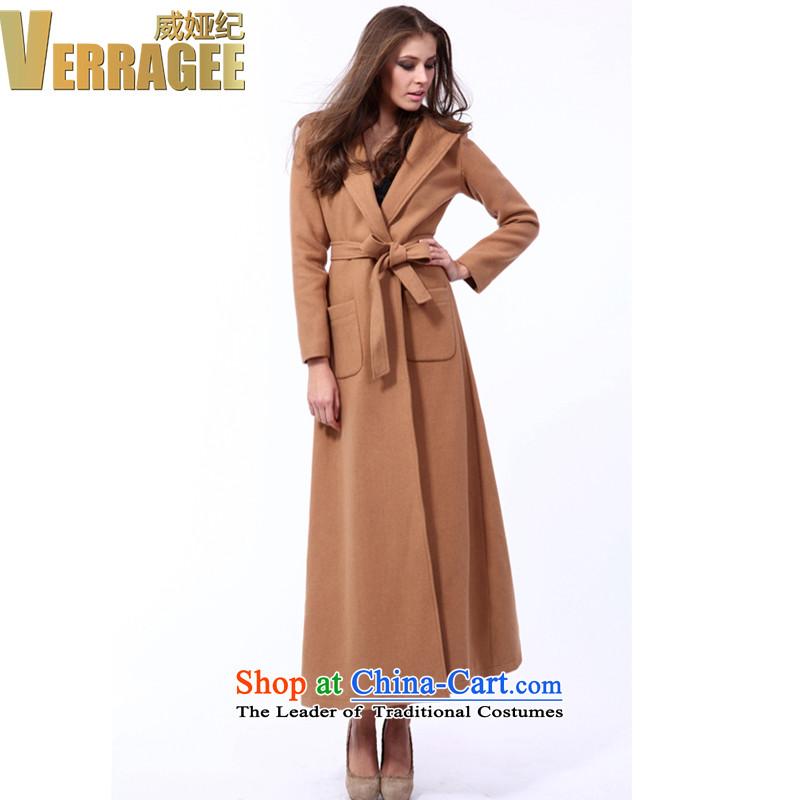 Wei Ya Ji _verragee autumn and winter new western temperament of the forklift truck profile-long jacket coat gross?? female t3951 wool Tan聽S