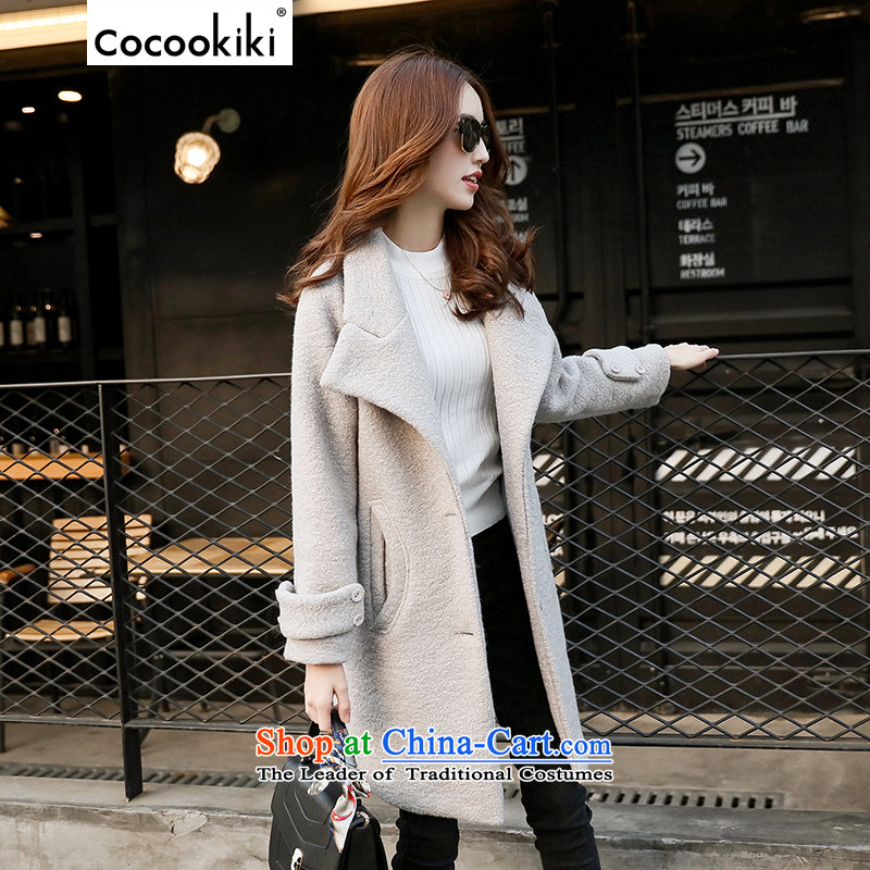 Install the latest autumn and winter COCOOKIKI2015 of long-sleeved jacket female Korean gross? long version of womens coats CC178?燤 Gray