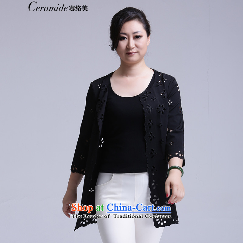 2015 Fall_Winter Collections for larger female Korean jacket to xl wind jacket girl in long thick woman video thin, long-sleeved cardigan engraving Knitted Shirt Black聽M