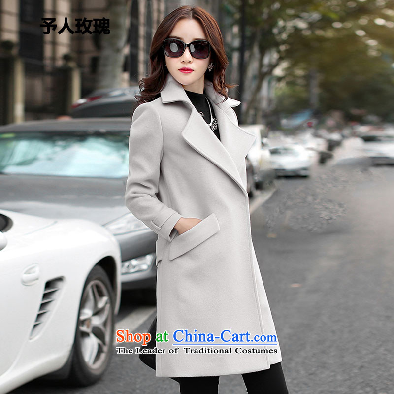 Be 2015 Autumn and Winter Rose new gross female Korean jacket? in the women's long jacket coat m gray hair?燣
