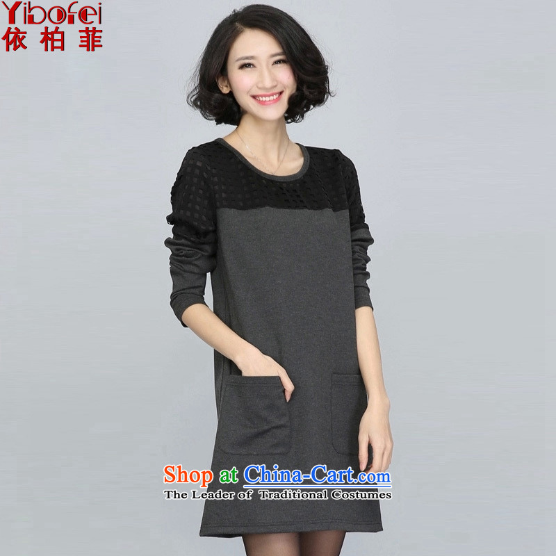 In accordance with the perfect爏pring 2015 the new fat mm to xl western engraving grid stitching loose video thin dresses female Y5018 gray燲L
