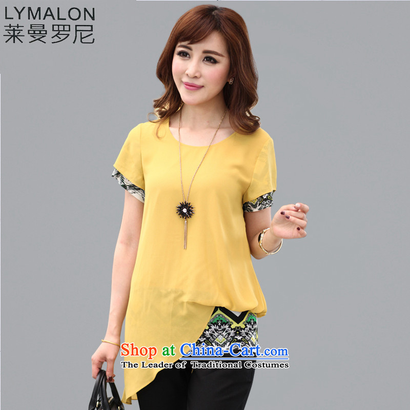 The lymalon Lehmann Spring 2015 new product version of large Korean yards short-sleeved blouses and leave two thick sister video thin chiffon T-shirt 1303 Yellow?XXL