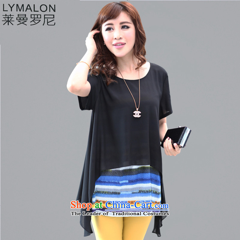 The lymalon lehmann spring and summer 2015 new product codes for women leave two in long short-sleeved T-shirt chiffon relaxd 1305 Black?5XL