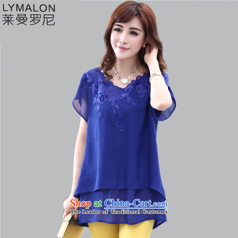 The lymalon lehmann spring and summer 2015 New Product Code women thick sister loose T-shirt niba embroidered edge chiffon Netherlands 1314 Blue?XL