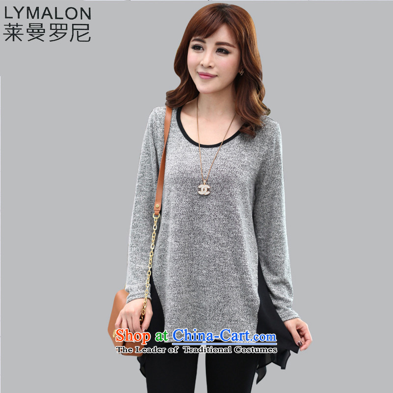 The lymalon lehmann autumn 2015 new product version of large Korean women's long sleeve loose code version of cotton T-shirt leisure compassionate 2819?5XL Gray