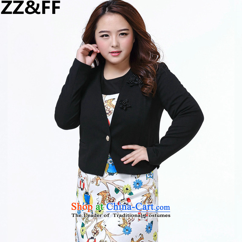 2015 Summer Zz&ff new larger female 200 catties thick mm video thin long-sleeved OL V-Neck Cardigan small black?XXXXL Kampala shoulder Jacket