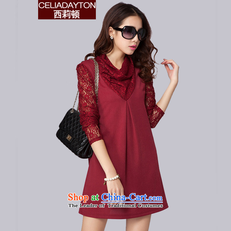 Szili Clinton larger female spring 2015 new thick mm trendy licensing temperament lace stitching long-sleeved dresses ad to Sau San video thin Korean skirt he wine red燣