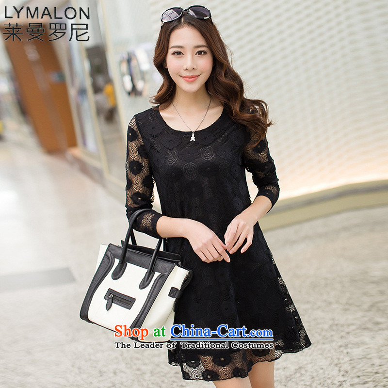 The lymalon lehmann autumn 2015 new stylish lace larger female stylish relaxd solid color kit and lace dresses 2005 Black燣