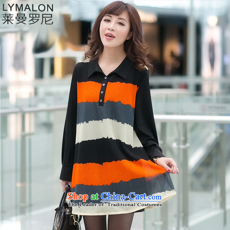 The lymalon lehmann autumn 2015 replacing the new Korean version of large long-sleeved blouses and code reverse collar loose version streaks dresses streaks燲XXXL Ki