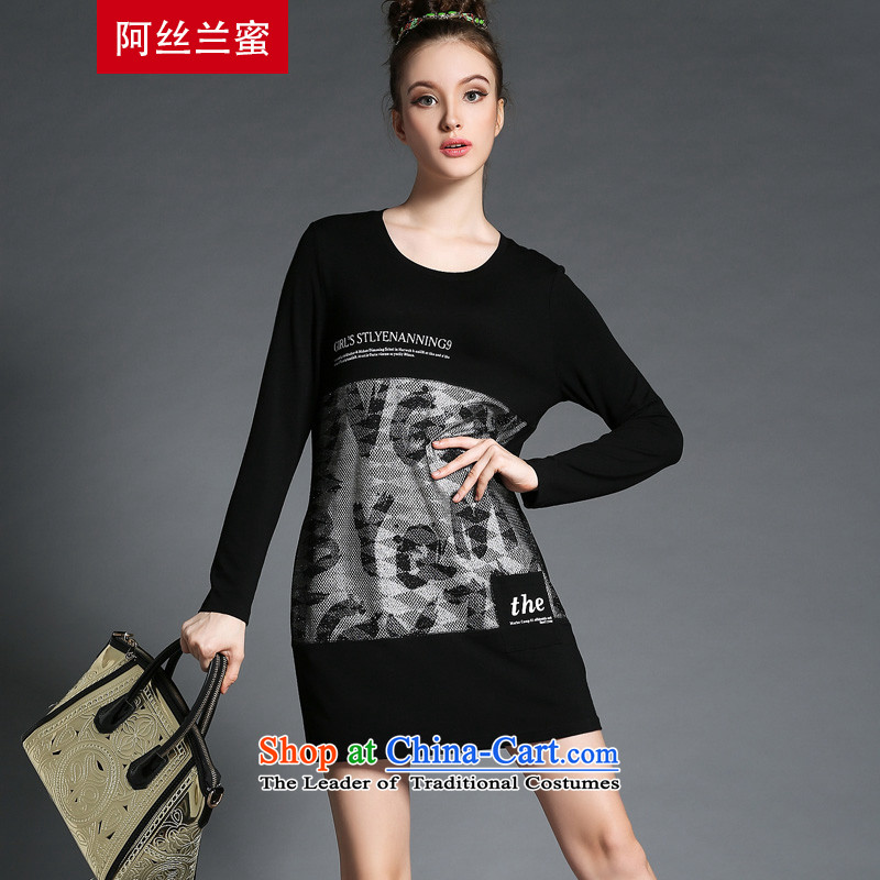 Of the Yucca honey xl thick MM THIN autumn replacing large video code women letters stamp stitching ZZ1825 T-shirt black?XL(120 catty-134 catty through)