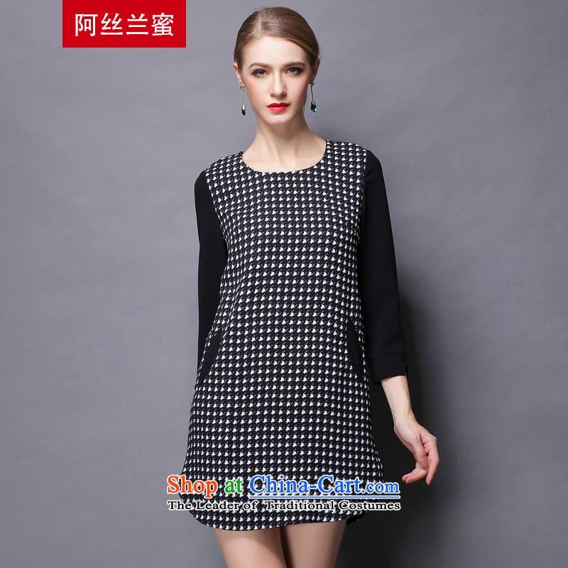Of the Yucca honey xl thick MM THIN autumn replacing large video code women stitching chidori grid dresses ZZ1812 picture color聽3XL_150 catty - 164 catties through_