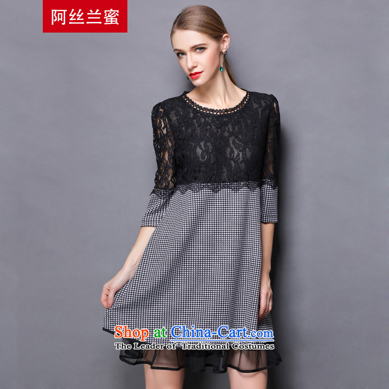 Of the Yucca honey xl thick MM THIN autumn replacing large video decode female lace stitching leave two segments of the dresses ZZ1690 picture color XL(120 catty-134 catty through)