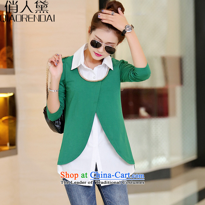 For the Korean People Diana Lady's spring 2015 new leave two solid color stitching knitted shirts green XXL