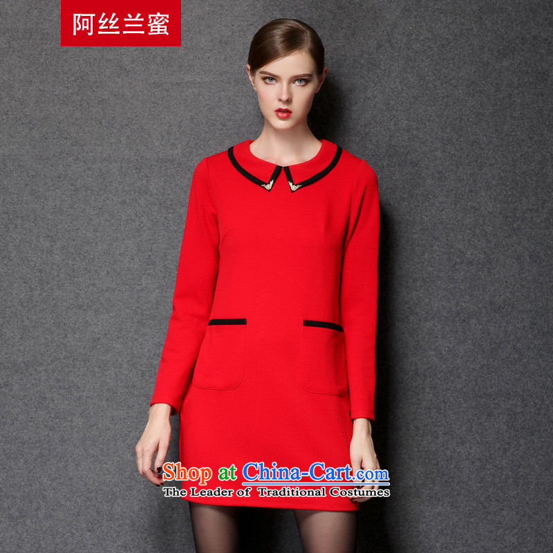 Of the Yucca honey xl thick MM THIN autumn 2015 installed graphics larger female knocked color lapel dresses Z1678?XL(120 red coal-134 catty through)