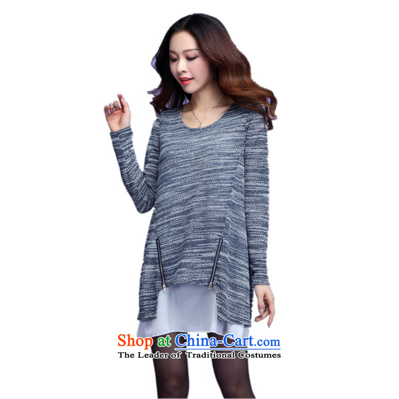 Payment on delivery to xl leisure short skirts Korea long-sleeved Pullover leave two kits chiffon spell a series of dresses knitting cheongsams won belly relaxd dress shirt, blue m?3XL thick?approximately 160-175 catty