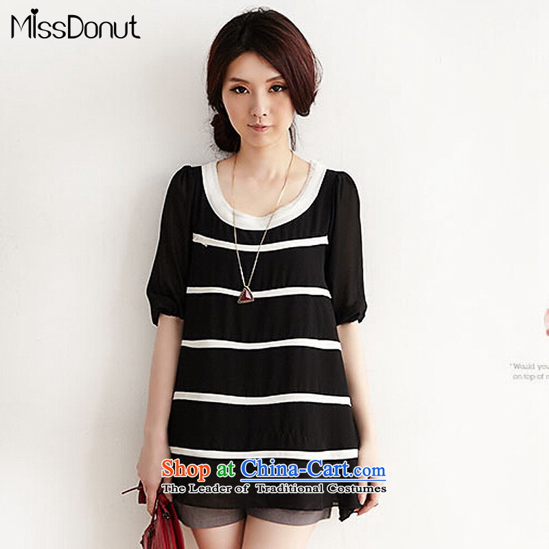 2015 Summer missdonut large new products to increase women's code thick mm loose in Korean long streaks chiffon shirt black large 3XL code