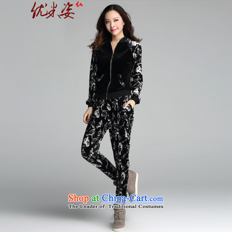 Gigi Lai to optimize M XL women during the spring and autumn of leisure new package of video thin beauty loose 200 catties thick with two-piece homewear pants C.O.D.�L recommendations 195-235 black catties