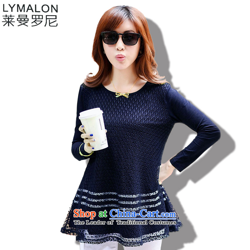 The lymalon lehmann thick, Hin thin 2015 autumn the new Korean version of large numbers of female false two long-sleeved shirt loose lace mm9371 thick blue?M