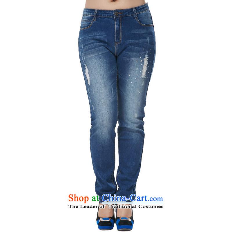 Xl female Korean Denim blue jeans?2XL