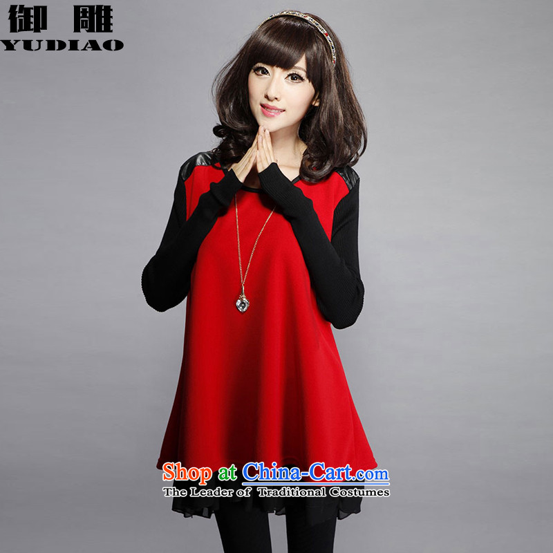 The royal eagle2015 autumn and winter New Women Korean thick sister large relaxd dress chiffon stitching long-sleeved dressesZ016XXXL_. Suitable for 145-160 red coal_
