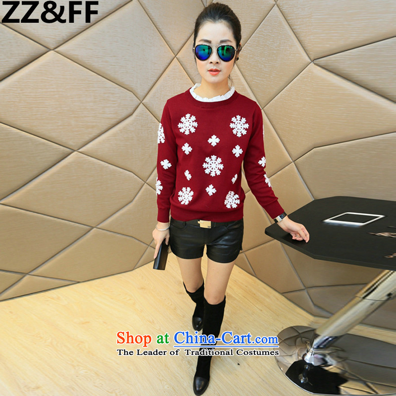 Install the latest Autumn 2015 Zz_ff_ to increase the number of female 200mm thick Korean catty stitching embroidery large Fat MM Sau San T-shirt female wine red燲XXL_160-200 catties_